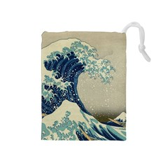The Classic Japanese Great Wave Off Kanagawa By Hokusai Drawstring Pouches (medium)  by PodArtist