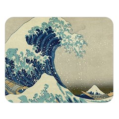 The Classic Japanese Great Wave Off Kanagawa By Hokusai Double Sided Flano Blanket (large)  by PodArtist