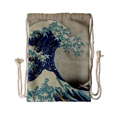 The Classic Japanese Great Wave Off Kanagawa By Hokusai Drawstring Bag (small) by PodArtist