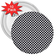 Black And White Checkerboard Weimaraner 3  Buttons (10 Pack)