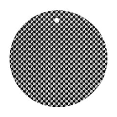 Black And White Checkerboard Weimaraner Round Ornament (two Sides) by PodArtist