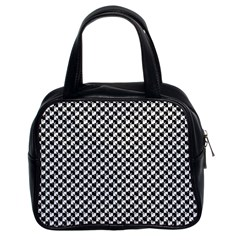 Black And White Checkerboard Weimaraner Classic Handbags (2 Sides) by PodArtist
