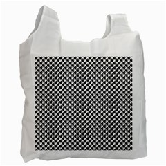 Black And White Checkerboard Weimaraner Recycle Bag (one Side) by PodArtist