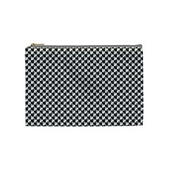 Black And White Checkerboard Weimaraner Cosmetic Bag (medium)  by PodArtist
