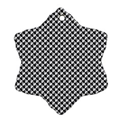 Black And White Checkerboard Weimaraner Snowflake Ornament (two Sides) by PodArtist
