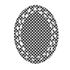 Black And White Checkerboard Weimaraner Oval Filigree Ornament (two Sides) by PodArtist