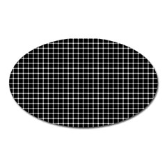 Black And White Optical Illusion Dots And Lines Oval Magnet by PodArtist