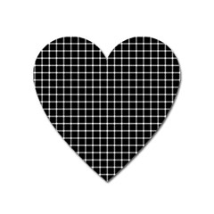 Black And White Optical Illusion Dots And Lines Heart Magnet by PodArtist