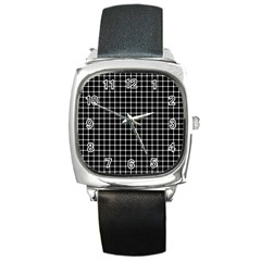 Black And White Optical Illusion Dots And Lines Square Metal Watch by PodArtist