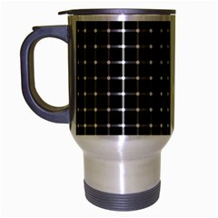 Black And White Optical Illusion Dots And Lines Travel Mug (silver Gray) by PodArtist