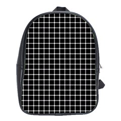 Black And White Optical Illusion Dots And Lines School Bag (xl)