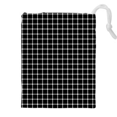 Black And White Optical Illusion Dots And Lines Drawstring Pouches (xxl) by PodArtist