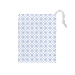 Alice Blue Quatrefoil In An English Country Garden Drawstring Pouches (medium)  by PodArtist