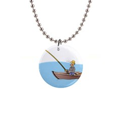 Fishing Fish Fisherman Boat Mare Button Necklaces by Sapixe