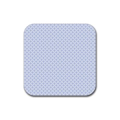 Alice Blue Quatrefoil In An English Country Garden Rubber Coaster (square)  by PodArtist
