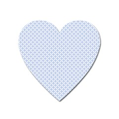 Alice Blue Quatrefoil In An English Country Garden Heart Magnet by PodArtist
