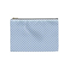 Alice Blue Quatrefoil In An English Country Garden Cosmetic Bag (medium)  by PodArtist