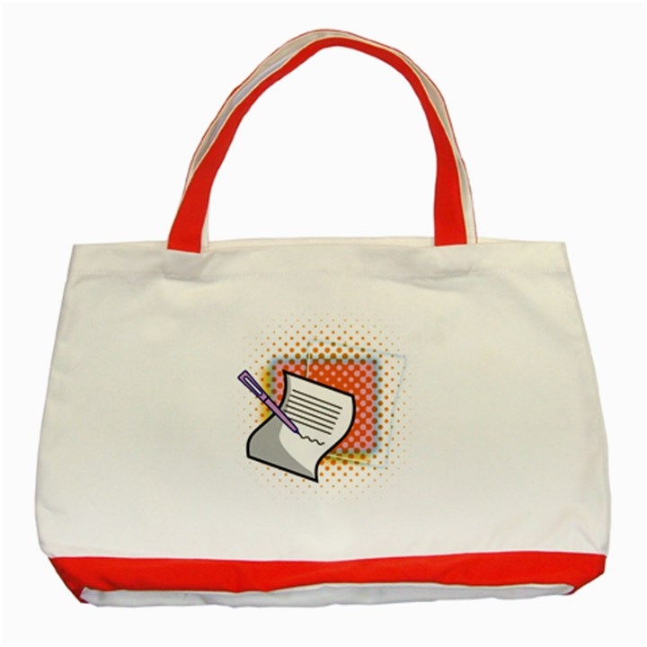 Letter Paper Note Design White Classic Tote Bag (Red)