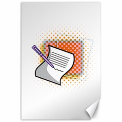 Letter Paper Note Design White Canvas 20  X 30   by Sapixe