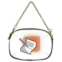 Letter Paper Note Design White Chain Purses (one Side)
