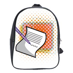Letter Paper Note Design White School Bag (large) by Sapixe