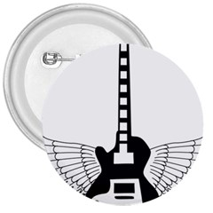 Guitar Abstract Wings Silhouette 3  Buttons by Sapixe