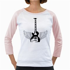 Guitar Abstract Wings Silhouette Girly Raglans by Sapixe