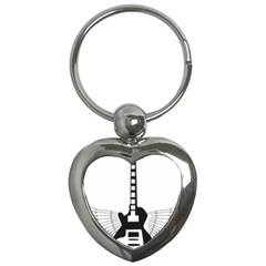 Guitar Abstract Wings Silhouette Key Chains (heart)  by Sapixe