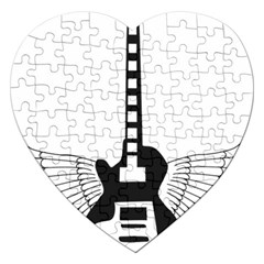 Guitar Abstract Wings Silhouette Jigsaw Puzzle (heart) by Sapixe