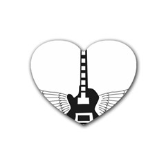 Guitar Abstract Wings Silhouette Rubber Coaster (heart)  by Sapixe
