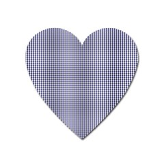 Usa Flag Blue And White Gingham Checked Heart Magnet by PodArtist