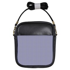 Usa Flag Blue And White Gingham Checked Girls Sling Bags by PodArtist