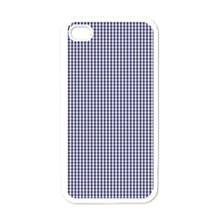 Usa Flag Blue And White Gingham Checked Apple Iphone 4 Case (white) by PodArtist