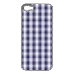 Usa Flag Blue And White Gingham Checked Apple Iphone 5 Case (silver) by PodArtist