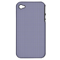 Usa Flag Blue And White Gingham Checked Apple Iphone 4/4s Hardshell Case (pc+silicone) by PodArtist