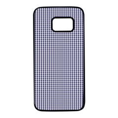 Usa Flag Blue And White Gingham Checked Samsung Galaxy S7 Black Seamless Case by PodArtist