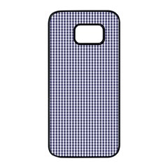Usa Flag Blue And White Gingham Checked Samsung Galaxy S7 Edge Black Seamless Case by PodArtist