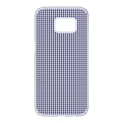 Usa Flag Blue And White Gingham Checked Samsung Galaxy S7 Edge White Seamless Case by PodArtist