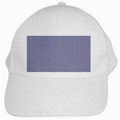 Usa Flag Blue And White Stripes White Cap by PodArtist