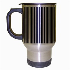 Usa Flag Blue And White Stripes Travel Mug (silver Gray) by PodArtist