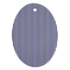 Usa Flag Blue And White Stripes Oval Ornament (two Sides) by PodArtist