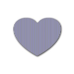 Usa Flag Blue And White Stripes Rubber Coaster (heart)  by PodArtist