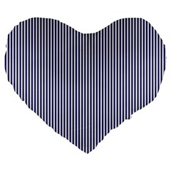Usa Flag Blue And White Stripes Large 19  Premium Flano Heart Shape Cushions by PodArtist