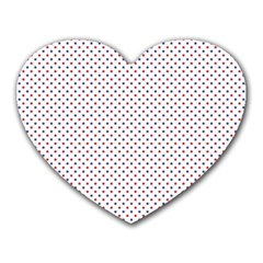 Usa Flag Red And Flag Blue Stars Heart Mousepads by PodArtist