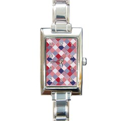 Usa Americana Diagonal Red White & Blue Quilt Rectangle Italian Charm Watch by PodArtist