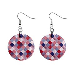 Usa Americana Diagonal Red White & Blue Quilt Mini Button Earrings by PodArtist
