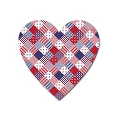 Usa Americana Diagonal Red White & Blue Quilt Heart Magnet by PodArtist