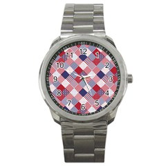Usa Americana Diagonal Red White & Blue Quilt Sport Metal Watch by PodArtist