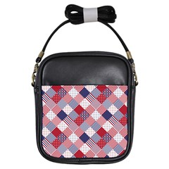 Usa Americana Diagonal Red White & Blue Quilt Girls Sling Bags by PodArtist