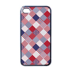 Usa Americana Diagonal Red White & Blue Quilt Apple Iphone 4 Case (black) by PodArtist